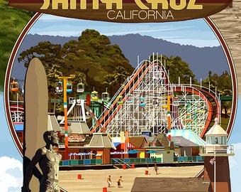 Santa Cruz, California - Scenes Montage (Art Prints available in multiple sizes)
