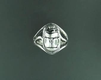 Egyptian Scarab Ring in Sterling Silver