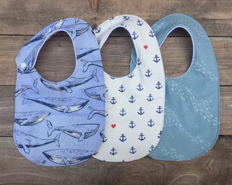 Nautical Harper Snap Bib || Ahoy Matey Collection