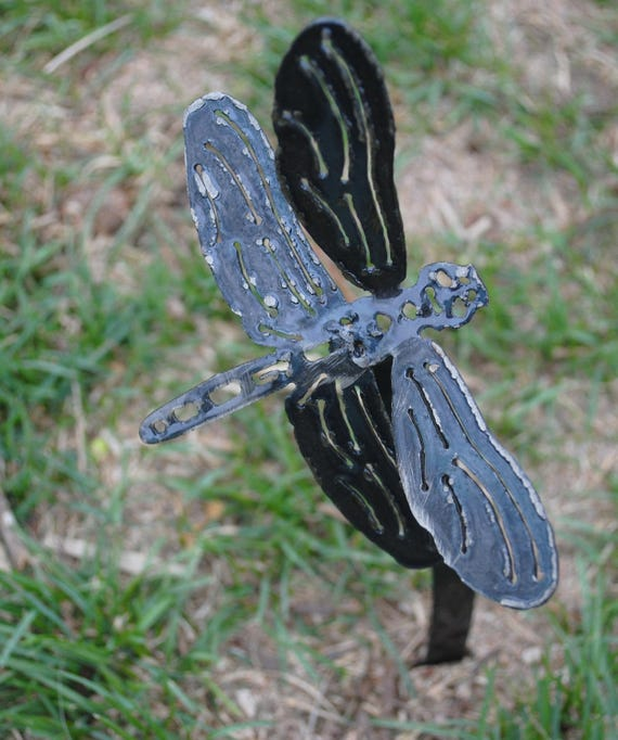Dragonfly Metal Garden Stake, Metal Garden Art, Metal Yard Art, Metal Dragonfly, Metal Sculpture, Garden Art Decor, Spring Garden, Metal Art