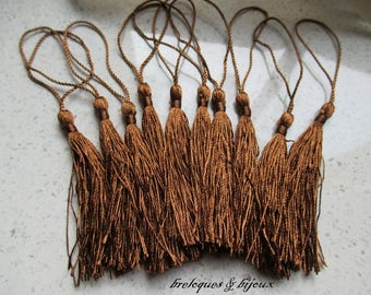 CHARMS TASSELS cotton TASSELS 13 cm coffee set with 10 pom poms for all your jewelry creations
