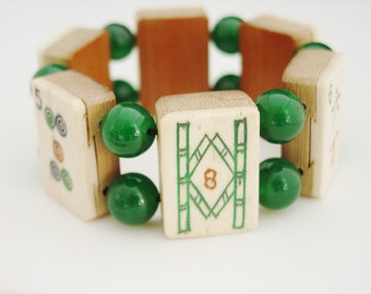 Mah Jong Bracelet of Vintage Bone and Bamboo Tiles with Jade / Mah Jong Bracelet / Vintage / 1930s / Jade / Dovetailed / Gift for Women
