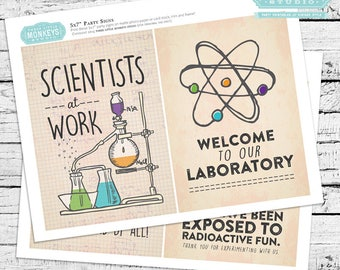 Science Birthday Personalized 5x7 Decor Signs - Instant Download