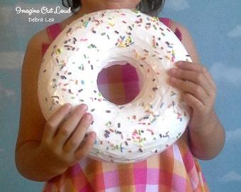GIANT Faux Donut Fake Doughnut Vanilla Wall Art Plaque Handmade Sprinkles DECOR Cake Kitchen Display Pink Cafe