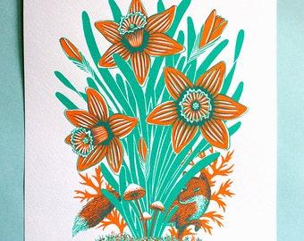 Fox with daffodils