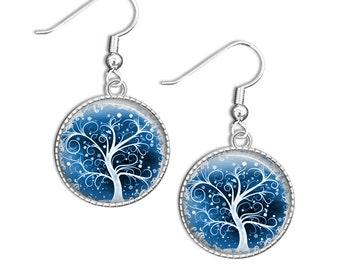 Tree earrings, Tree Drop Earrings - Blue Tree Glass Earrings - Blue Tree Jewelry (Tree 1)