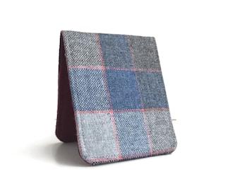OhSoRetro Mens Wallet / Super Thin Billfold Wallet / Grey Herringbone Wool / Non-Leather Wallet