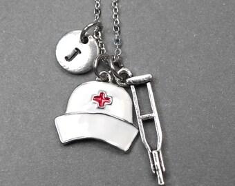 Nurse cap necklace, crutches necklace, nurse necklace, gift for nursing graduate, graduation necklace, nurse graduation, personalized