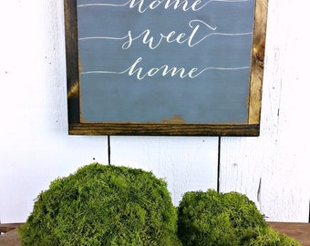 """12"""" x 12"""" - Home Sweet Home - distressed wood sign"""
