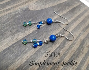 Simple and delicate blue color earring
