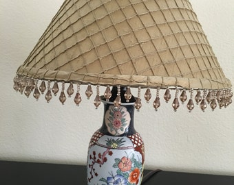 Lamp, Small Vintage Asian Table Lamp with Custom Silk Shade