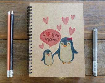 I Love You Mom  - Spiral Notebook/Sketchbook/Kraft Journal/Personalized Journal - Blank paper - Thank You For Everything - 011