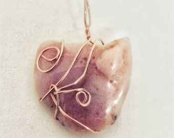 Wirewrapped Pink Agate Pendant