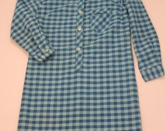 little tex blue gingham plaid cotton shirt dress vintage fabulous for girls