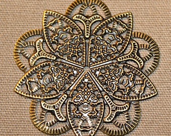 Metal Filigree Flower Embellishment, 1 piece