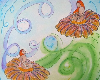 Yoga art.Healing art.Divine feminine art.Little painting.Friday art.Breathe in Breathe out.Womanhood art.Two women.Yoga image.Yoga breath