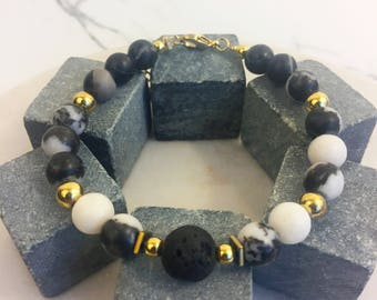 Lava and Marble Beaded Bracelet