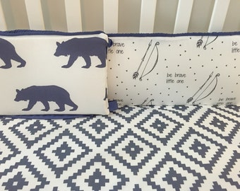 Organic Be Brave Little One Bumper Set with Bears in Navy. Custom Crib Bedding Designed by Mom!