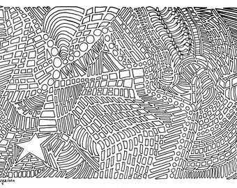 Star 3 Abstract, Star 3 Coloring Page, Adult Coloring, Adult Coloring Page, Abstract Star, Coloring Page, Abstract Coloring Page
