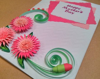 Pink Quilled Mother's day Card