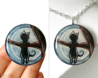 Hanging Cat Necklace, Pet Painting, Tree Branch Pendant, Full Moon Jewelry, Black Cat Silhouette, Halloween Cat Lover Gift for Her