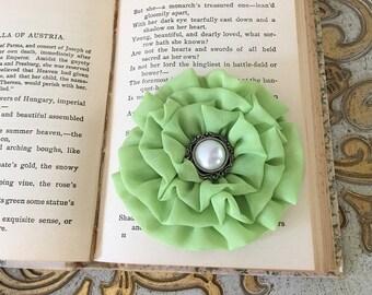 Lime Green Flower Hair Clip.Lime Green Flower Brooch.Lime Flower Pin.Bridesmaid.Headpiece.hair accessory.wedding.bridesmaid.Hair Piece