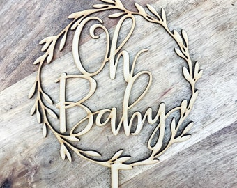 CLEARANCE 1 ONLY in Timber Oh Baby Wreath Cake Topper Boho Baby Shower cake topper wreath cake topper Topper wreath cake Cake Topper