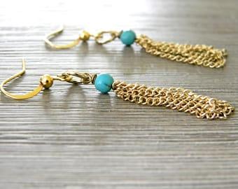 Gold Color Tassel Earrings Dangle Earrings Imitation Turquoise Stone Earrings