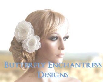 Bridal Hair Flowers, Wedding Hair Accessories, Hair Clips - 2 English Rose Flower Clips - Rhinestone