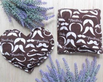 Microwave Rice Bag - Heated Rice Pack - Flax Seed Bag - Hot Cold Rice Bag Pad - Valentine for Men - Rice Heating Pad - Mustache Beard Gift