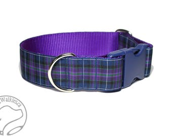 """Pride of Scotland Tartan Dog Collar / 1.5"""" Wide(38mm) / Purple Plaid / Choice of style and size - Martingale Dog Collars or Quick Release"""