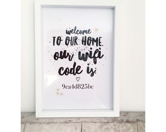 Personalised 'welcome to our home' wifi print.