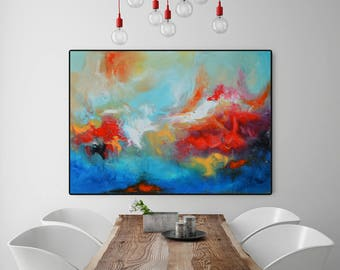 Original abstract giclée Print of painting, red painting, modern painting red, blue painting, huge wall art, large painting, canvas print
