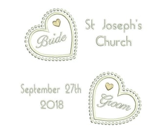 Wedding Ring Cushion Machine Embroidery Design, Personalised, Ring Bearer Cushion Embroidery, Bridal, Hearts, Ring Pillow, 3 Sizes, S565-5