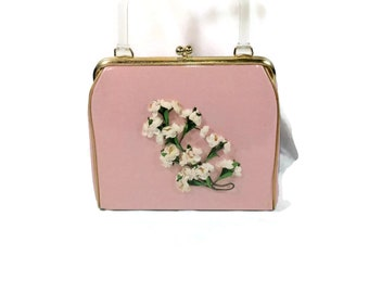 Vintage Pink Plastic Covered Flower Purse with Lucite Handle