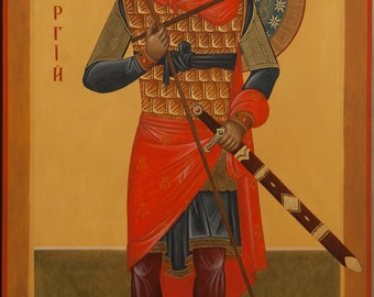 Russian orthodox icon St George tempera gold hand made 120x73 cm