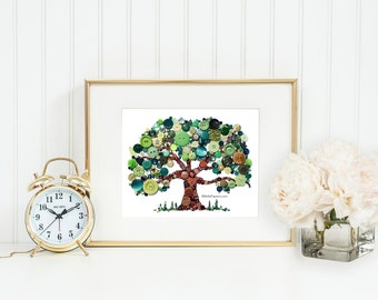 5th Anniversary Gifts Wood Anniversary Present Traditional Fifth Anniversary Gifts Family Tree Button Art Tree of Life Swarovski Rhinestones