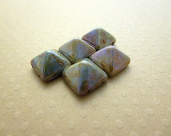 Set of 5 Pyramid beads (beadstud) 2 hole Alabaster Blue Luster-PB12-1210 12x12mm