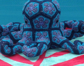 Custom Handmade crochet African Flower Octopus