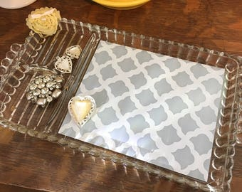 Upcycled vintage vanity tray - yellow and gray