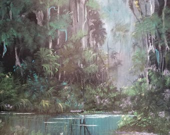 Original Painting Florida Landscape Art Tropical Oil Painting Palm Tree painting Impressionism Misty Moonlight Creek 16x20  by Oscar Whirls