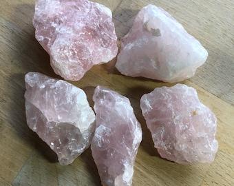 Rough rose quartz crystal