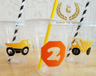 Construction Party Cups, Dump Truck Party Favor Cups (Set of 12)- Dump Truck Party Cups, Construction Party, Dump Truck Party Favor