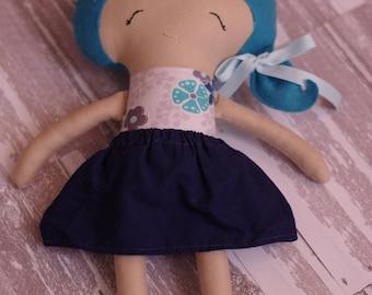 """14"""" Blue Hair Fabric Doll"""