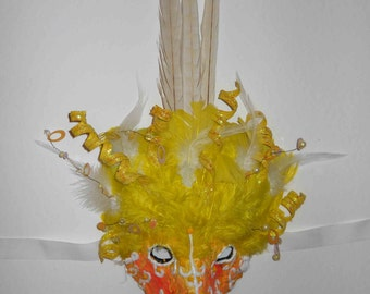 Yellow Feather Bird Mask by Anthony Saldivar - Handmade - One of a kind