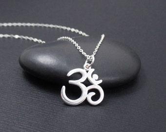 Om Symbol Necklace Sterling Silver Om Necklace, Ohm Necklace, Ohm Jewelry, Yoga Gift, Yoga Jewelry
