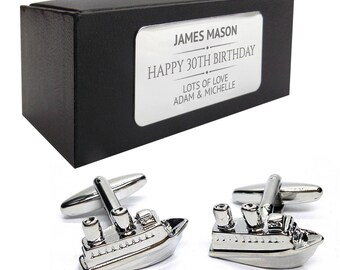 Cruise liner boat bon voyage CUFFLINKS 30th, 40th, 50th, 60th, 70th birthday gift, presentation box PERSONALISED ENGRAVED plate - 046