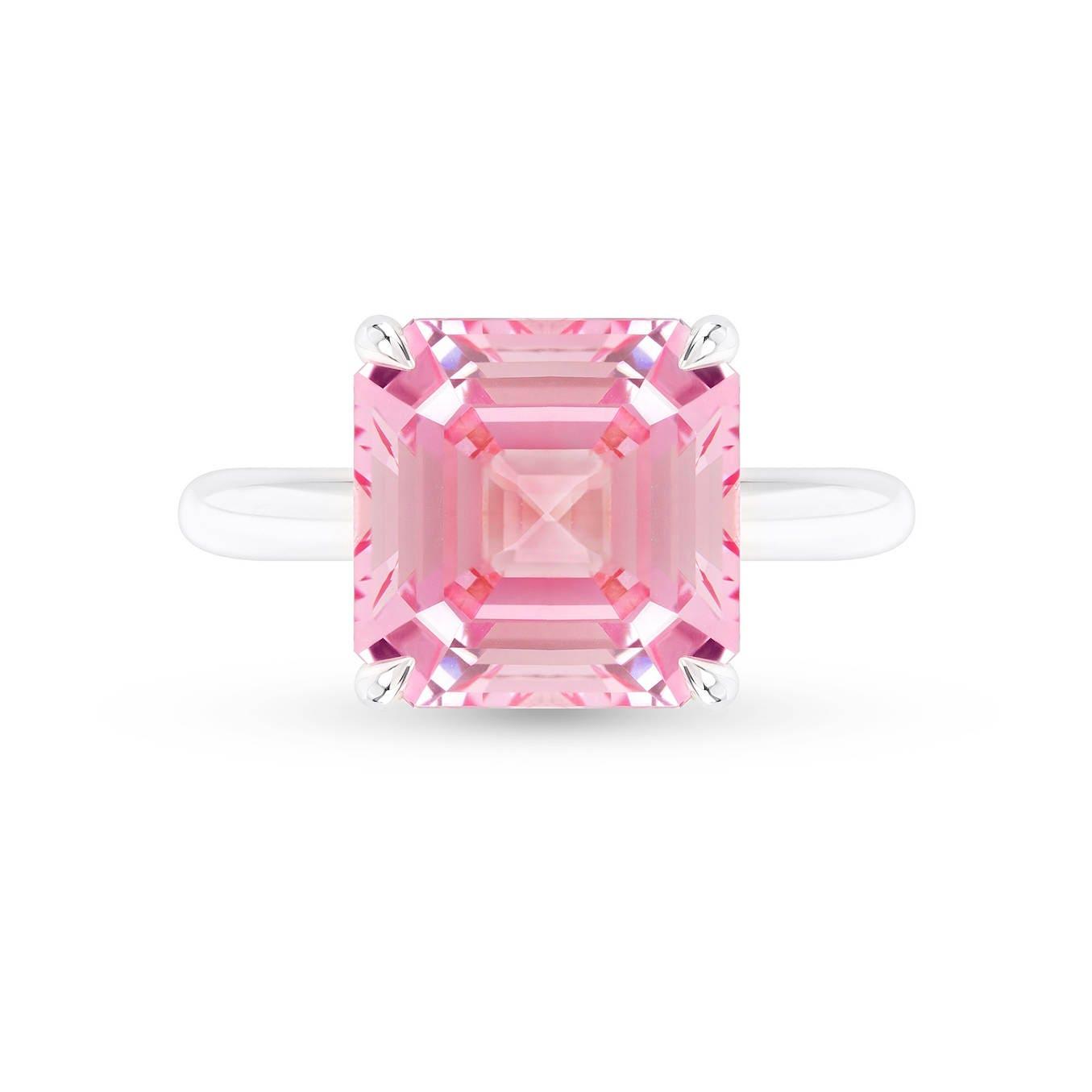 Asscher Cut Pink Padparadscha Sapphire Ring Antique Inspired