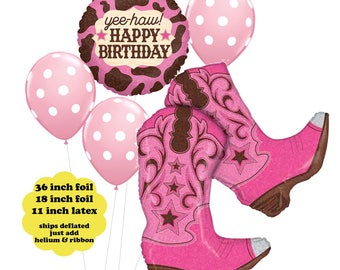 Cowgirl Birthday Balloon Bouquet - Western Party Decorations Cowgirl Balloons Pink Cowboy Boots Yee Haw Balloon Pink Dot Latex