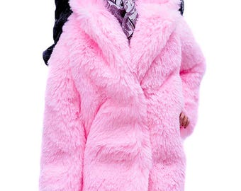ELENPRIV pink faux fur coat with full satin lining for Fashion royalty FR16 and similar body size dolls